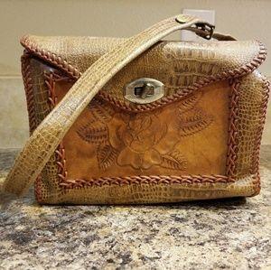Vintage rose tooled leather purse adjustable strap